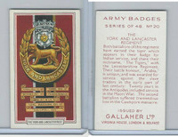 G12-72 Gallaher, Army Badges, 1939, #20 York and Lancaster Regiment