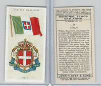 P72-171 Player, National Flags & Arms, 1936, #25 Italy