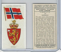 P72-171 Player, National Flags & Arms, 1936, #33 Norway