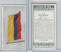 P72-97 Player, Flags League Nations, 1928, #12 Columbia