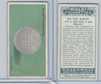 W62-127b Wills, Do You Know 2nd, 1924, #22 Golf Ball is not Smooth?