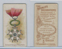 N30 Allen & Ginter, Worlds Decorations, 1890, #21 Legion Of Honor, France