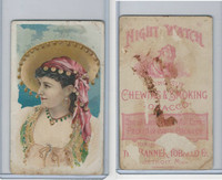N453 Night Watch, Banner Tobacco Co., 1890, Girl White & Green Dress