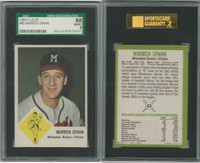 1963 Fleer Baseball, #45 Warren Spahn HOF, Braves, SGC 88 NMMT