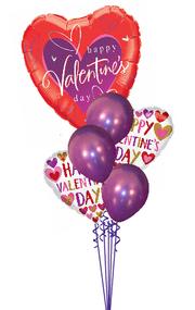 Happy Valentine's Day Hearts Around Bouquet