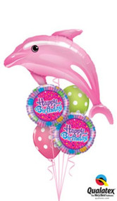 "1 - Pink Dolphin Foil 1 - 18"" Happy Birthday Foil  2 - 11"" Polka Dot Latex  Balloon Weight  Message Card"
