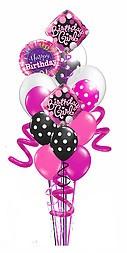 "2 - 18"" Birthday Diva Diamond Foil 1 - 18"" Happy Birthday Foil 2 - 11"" Polka Dot Latex  3 - 11"" Solid Latex  2 - 16"" Double stuffed Latex  3 - Curly Q's Balloon Weight Message Card"