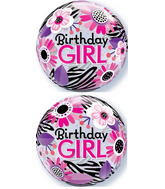 Birthday Girl Floral Zebra Stripes Bubble