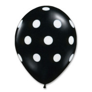 "11"" Black Latex White Polka Dot Print"