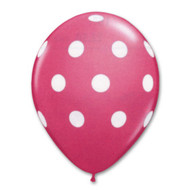 "11"" Magneta Latex White Polka Dot Print"