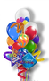 "Happy Birthday To You       (12 Balloons) 1 - Gumball w/Twisty 2 - Double Stuffed w/Twistys 7 - 11"" Latex Printed and Plain 2 -  Assorted 18"" Birthday Mylars 1 - Balloon Bouquet Weight"