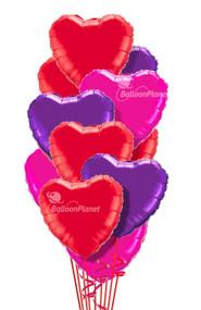 Hearts Classic Colors Mix Mylar Bouquet