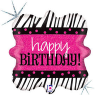 Pink and Zebra Birthday Balloon