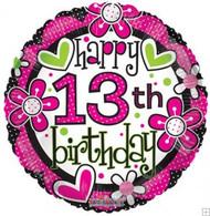 13th Birthday Hearts & Flowers