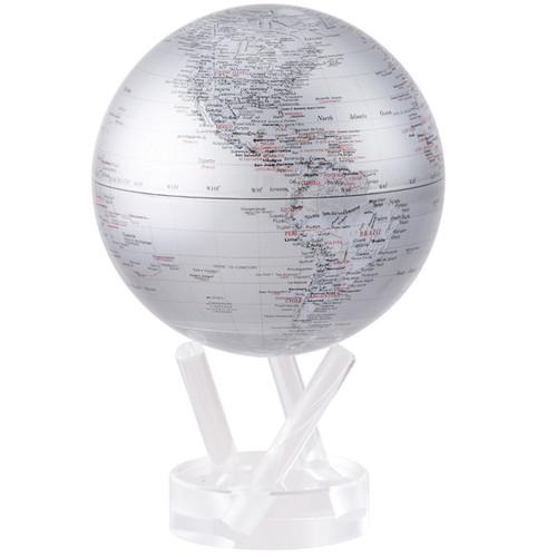 Silver Earth Globe - Thumbnail