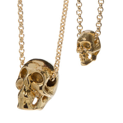 Pewter Skull Necklace - Gold Plated Thumbnail