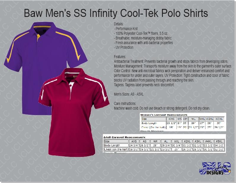 6faac29565c Baw Men's SS Infinity Cool-Tek Polo Shirts - Jordan Concepts LLC