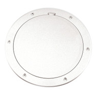 """Beckson 6"""" Smooth Center Pry-Out Deck Plate - White"""