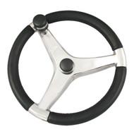 "Ongaro Evo Pro 316 Cast Stainless Steel Steering Wheel w\/Control Knob - 15.5"" Diameter"