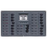 BEP AC Circuit Breaker Panel w\/Digital Meters, 16SP 2DP AC230V ACSM Stainless Steel Horizontal