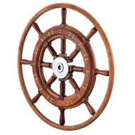"""Edson 30"""" Teak Yacht Wheel w\/Teak Rim  Chrome Hub"""