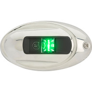 Attwood LightArmor Vertical Surface Mount Navigation Light - Oval - Starboard (green) - Stainless Steel - 2NM
