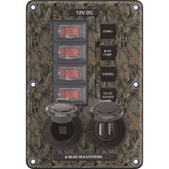 Blue Sea 4324 Circuit Breaker Switch Panel 4 Postion - Camo w\/12V Socket  Dual USB