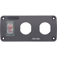 Blue Sea 4364 Water Resistant USB Accessory Panel - 15A Circuit Breaker, 2x Blank Apertures