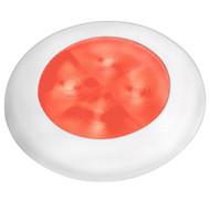 Hella Marine Red LED Round Courtesy Lamp - White Bezel - 24V