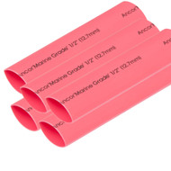 """Ancor Heat Shrink Tubing 1\/2"""" x 6"""" - Red - 5 Pieces"""