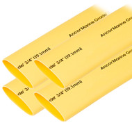 "Ancor Heat Shrink Tubing 3\/4"" x 6"" - Yellow - 4 Pieces"
