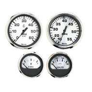 Faria Spun Silver Box Set of 4 Gauges f\/Outboard Engines - Speedometer, Tach, Voltmeter  Fuel Level