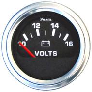 """Faria 2"""" Voltmeter (10-16 VDC) Unlit 12V Black w\/Stainless Steel Bezel  Orange Pointer - Case of 24"""