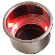 Sea-Dog LED Flush Mount Combo Drink Holder w\/Drain Fitting - Red LED