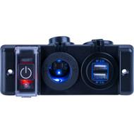 Sea-Dog Double USB  Power Socket Panel w\/Breaker Switch