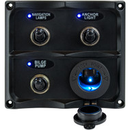 Sea-Dog Water Resistant Toggle Switch Panel w\/LED Power Socket - 3 Toggle