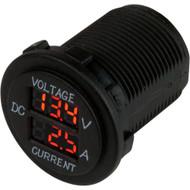 Sea-Dog Round Voltage  Amp Meter - 6V-30V  0 Amp - 10 Amp Meter
