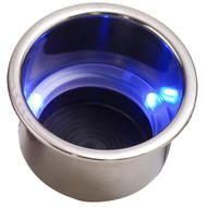 Sea-Dog LED Flush Mount Combo Drink Holder w\/Drain Fitting - Blue LED