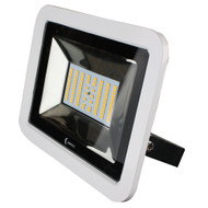 Lunasea 35W Slimline LED Floodlight, 120\/240VAC Only, Cool White, 4500 Lumens, 3 Cord - White Housing