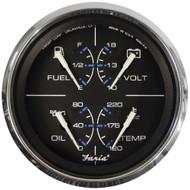 "Faria Chesapeake Black w\/SS Bezel 4"" Multifunction [Fuel Level | Oil PSI (100 PSI) | Water Temp (120-250 F) | Voltmeter (10-16 VDC)] - Black"