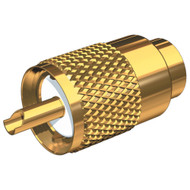 Shakespeare PL-259-58-G Gold Solder-Type Connector w\/UG175 Adapter & DooDad Cable Strain Relief f\/RG-58x