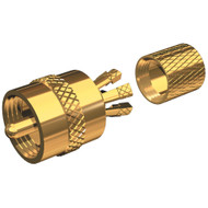 Shakespeare PL-259-CP-G - Solderless PL-259 Connector for RG-8X or RG-58\/AU Coax - Gold Plated