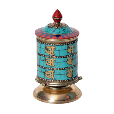 Turquoise Prayer Wheel for Table or Altar
