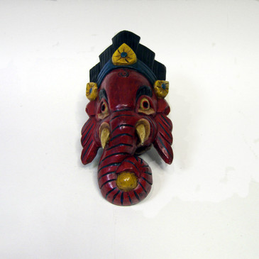 Wood Ganesha Mask - Red