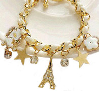 Eiffel Tower Charm Bracelet White Rope
