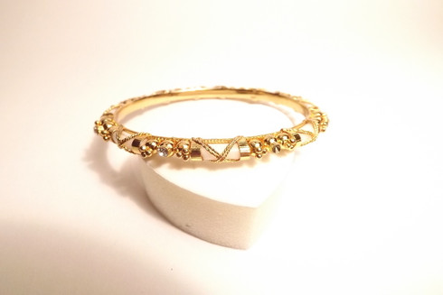 Ornate Detailed Golden Bracelet with Diamante