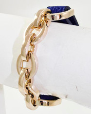 Leather and Gold Effect Chain Bracelet