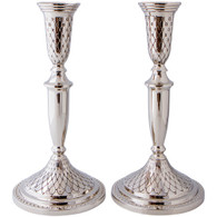 Candlesticks | Nickel Silver | Diamond Design | 27cm