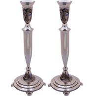 Candlesticks | Nickel Silver, Diamond Design with Filigree and Stones | 31cm