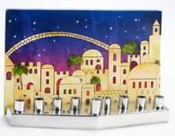 Chanukah: Menorah, Jerusalem, Aluminum With Glass | Mgl-21-J